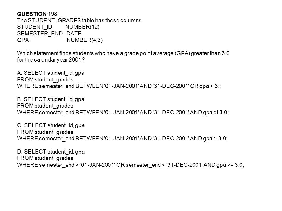 QUESTION 198 The STUDENT_GRADES table has these columns. STUDENT_ID NUMBER(12) SEMESTER_END DATE.