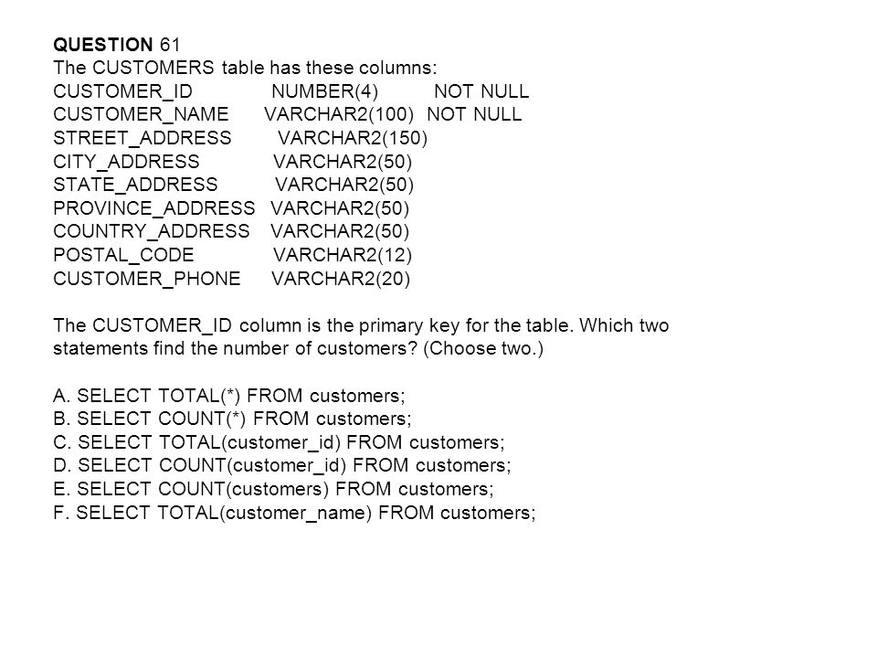 QUESTION 61 The CUSTOMERS table has these columns: CUSTOMER_ID NUMBER(4) NOT NULL.