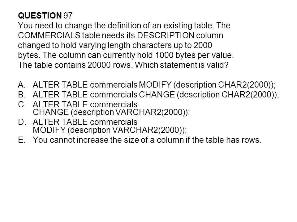 QUESTION 97 You need to change the definition of an existing table. The. COMMERCIALS table needs its DESCRIPTION column.