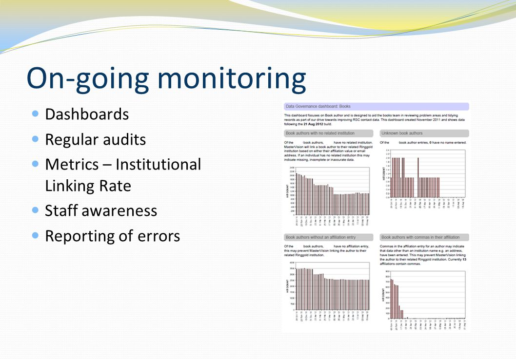 On-going monitoring Dashboards Regular audits