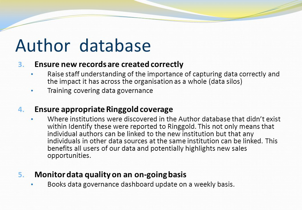 Author database Ensure new records are created correctly