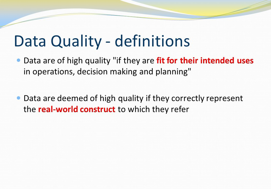 Data Quality - definitions