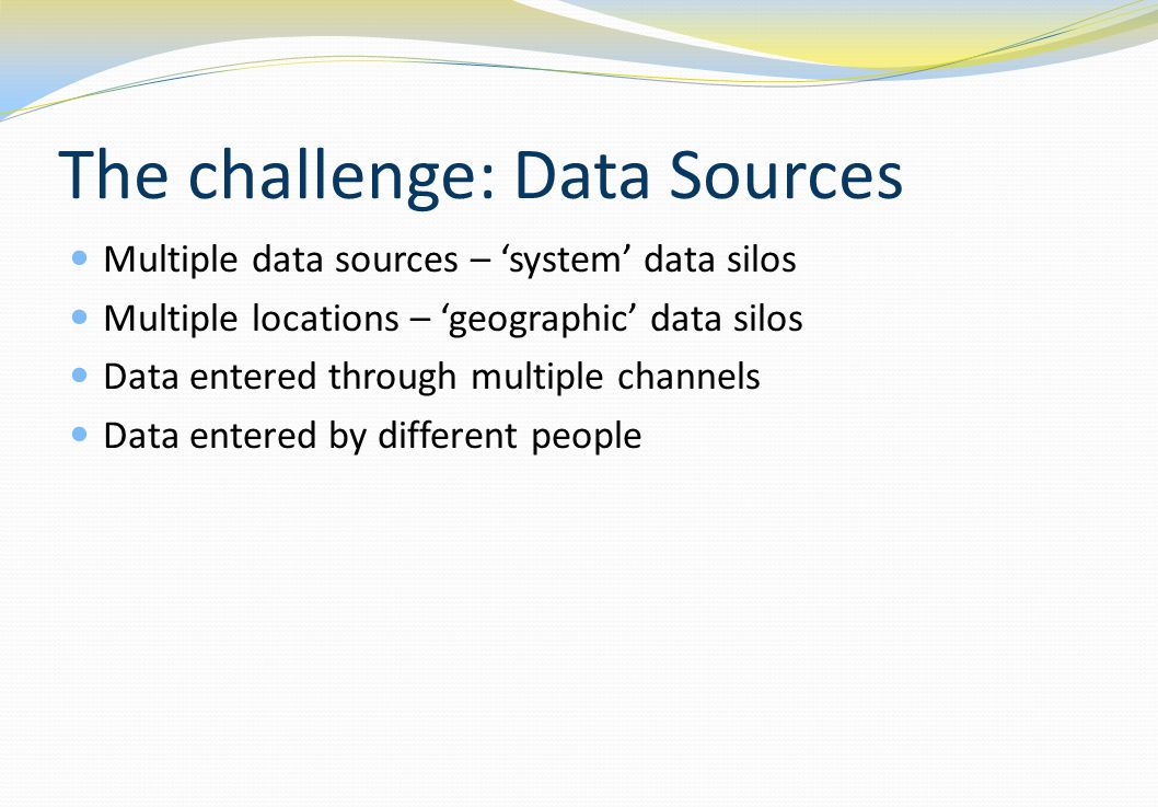 The challenge: Data Sources