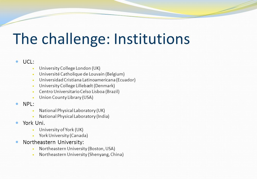 The challenge: Institutions