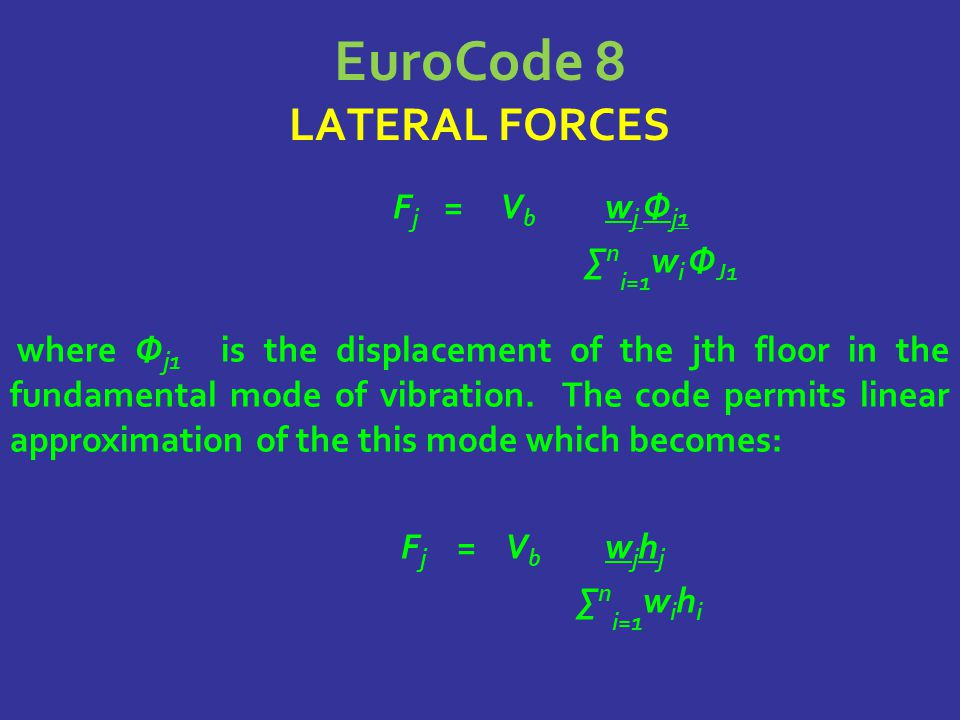 EuroCode 8 LATERAL FORCES