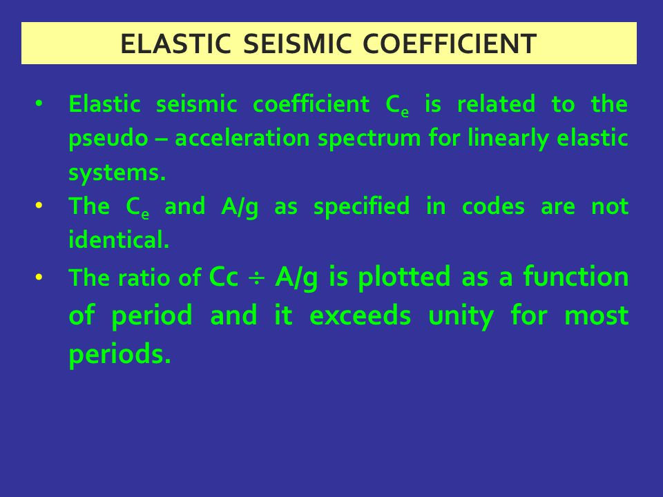 Elastic seismic coefficient