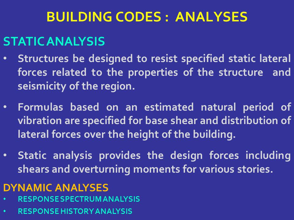 BUILDING CODES : ANALYSES