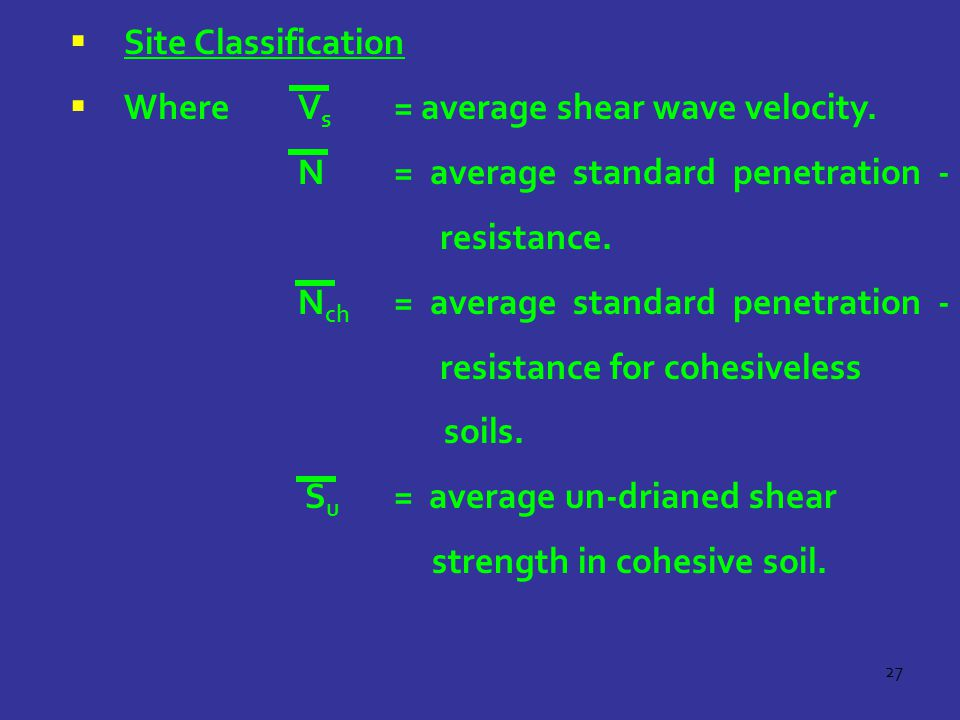 Site Classification Where Vs = average shear wave velocity. N = average standard penetration - resistance.