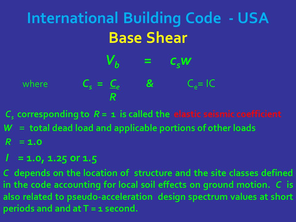International Building Code - USA Base Shear