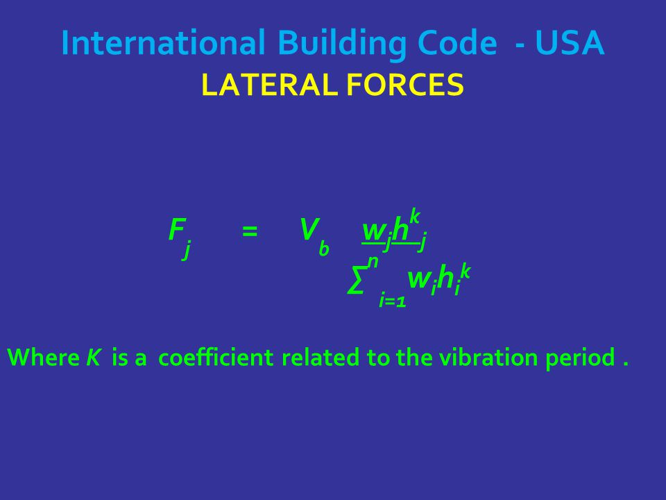International Building Code - USA LATERAL FORCES