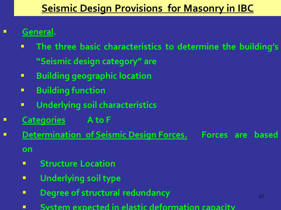 Seismic Design Provisions for Masonry in IBC