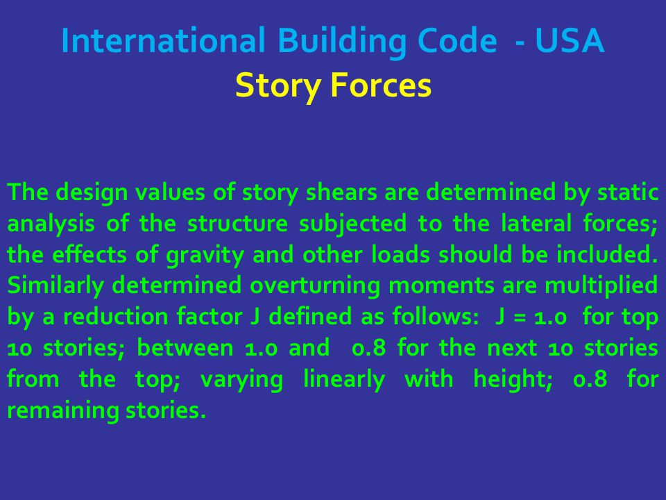 International Building Code - USA Story Forces