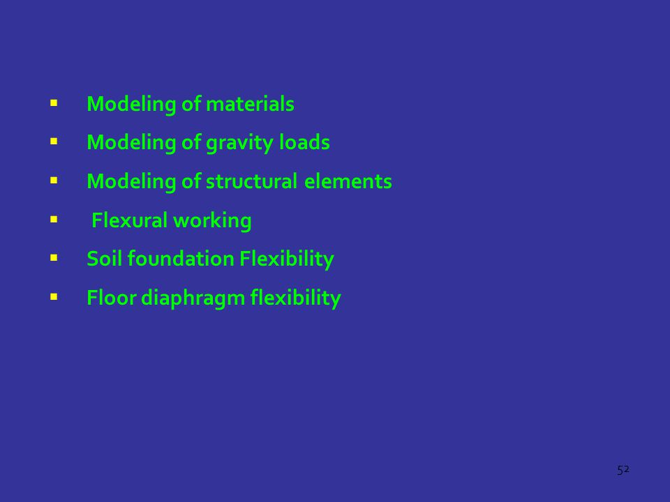 Modeling of materials Modeling of gravity loads. Modeling of structural elements. Flexural working.