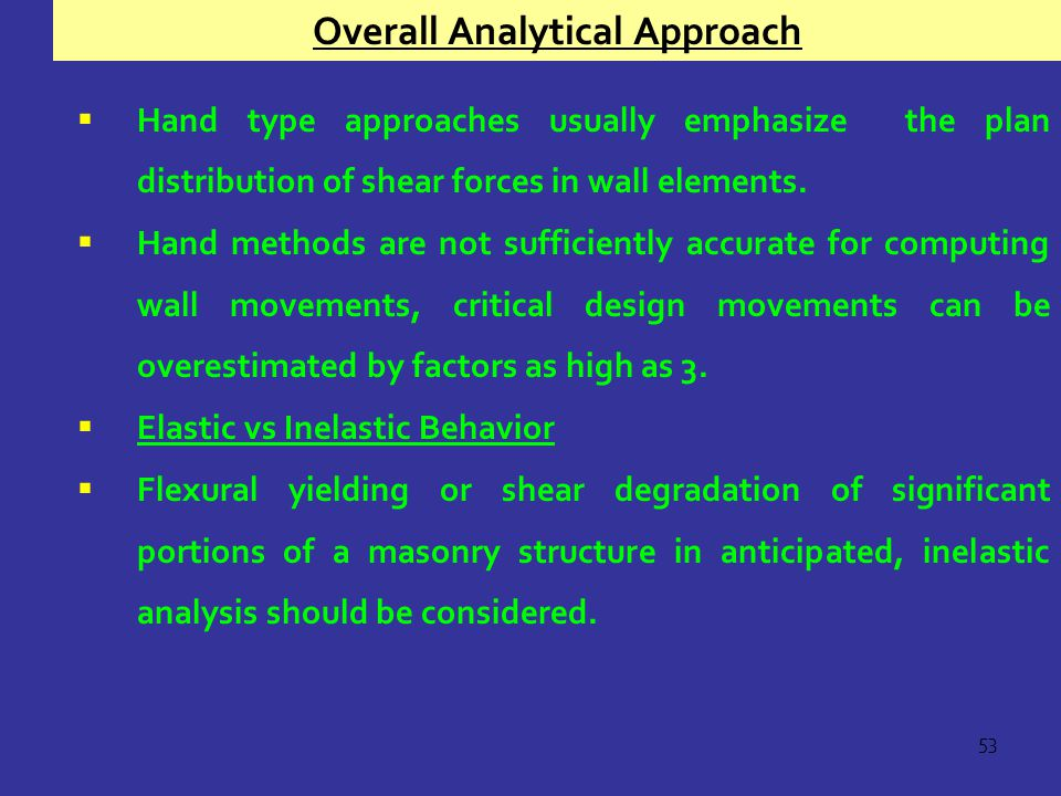 Overall Analytical Approach