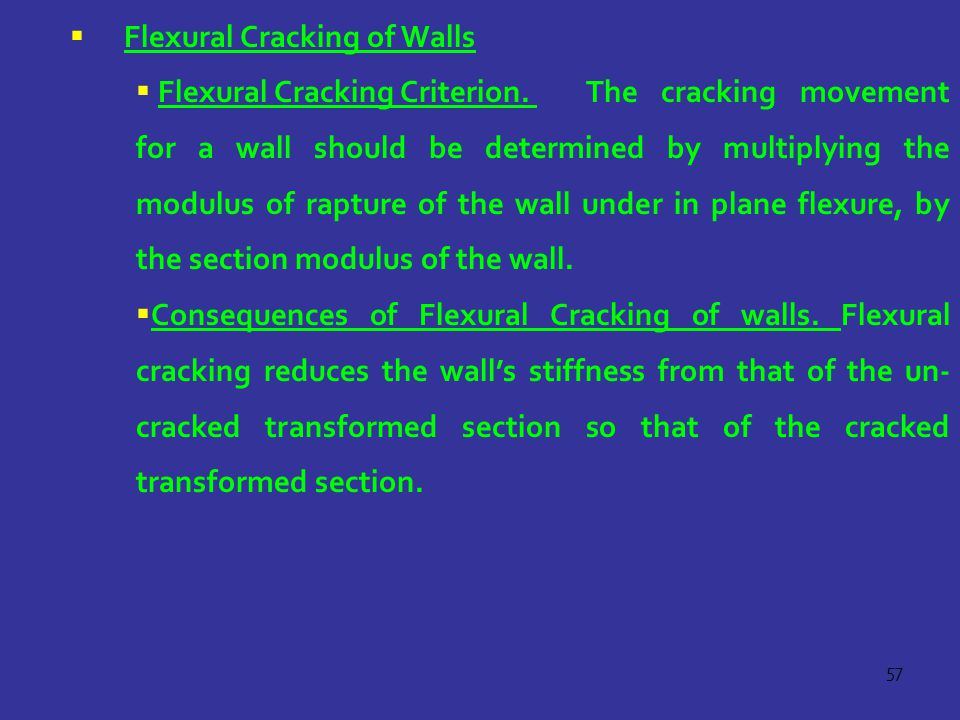 Flexural Cracking of Walls