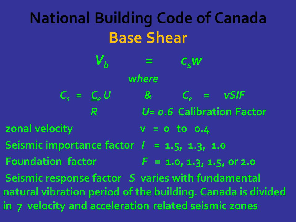 National Building Code of Canada Base Shear