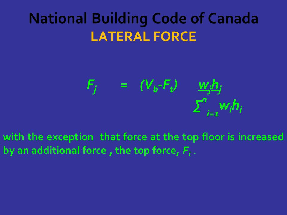 National Building Code of Canada LATERAL FORCE