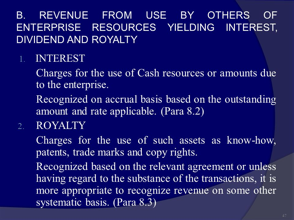B. REVENUE FROM USE BY OTHERS OF ENTERPRISE RESOURCES YIELDING INTEREST, DIVIDEND AND ROYALTY