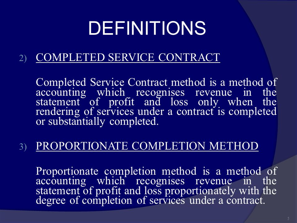 DEFINITIONS COMPLETED SERVICE CONTRACT