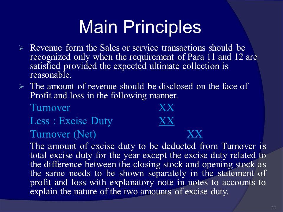 Main Principles Turnover XX Less : Excise Duty XX Turnover (Net) XX