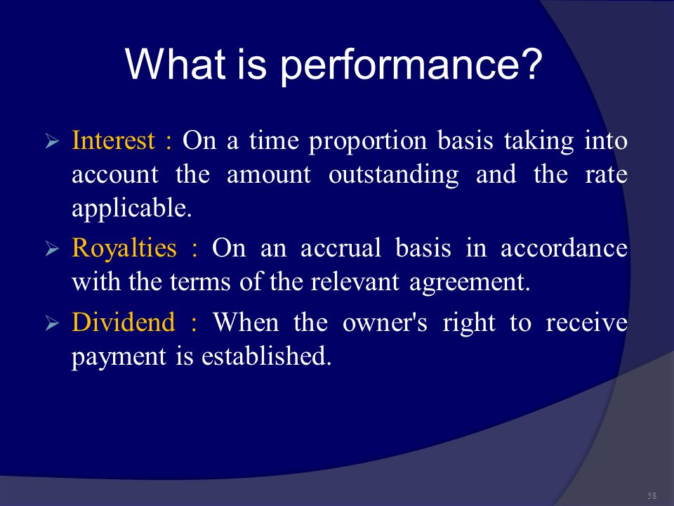 What is performance Interest : On a time proportion basis taking into account the amount outstanding and the rate applicable.