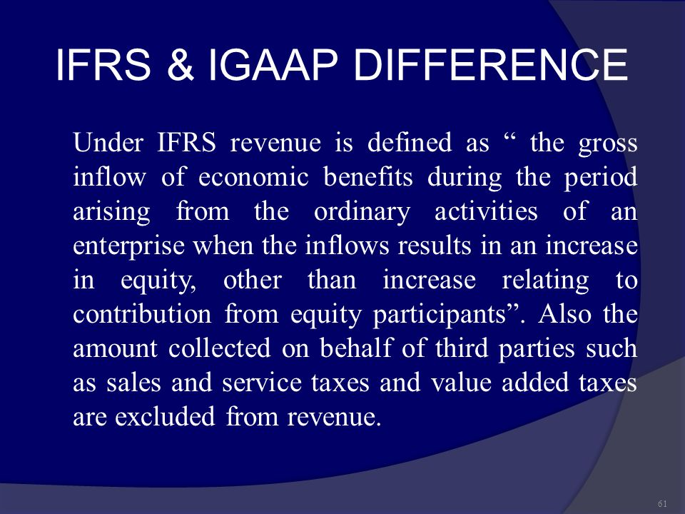 IFRS & IGAAP DIFFERENCE