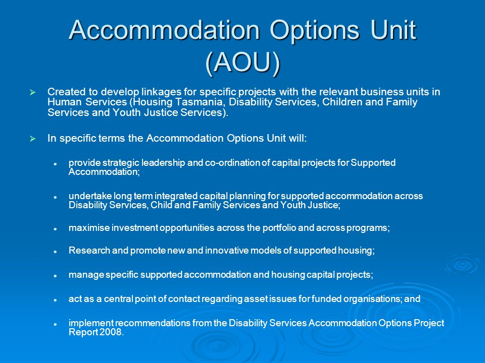 Accommodation Options Unit (AOU)
