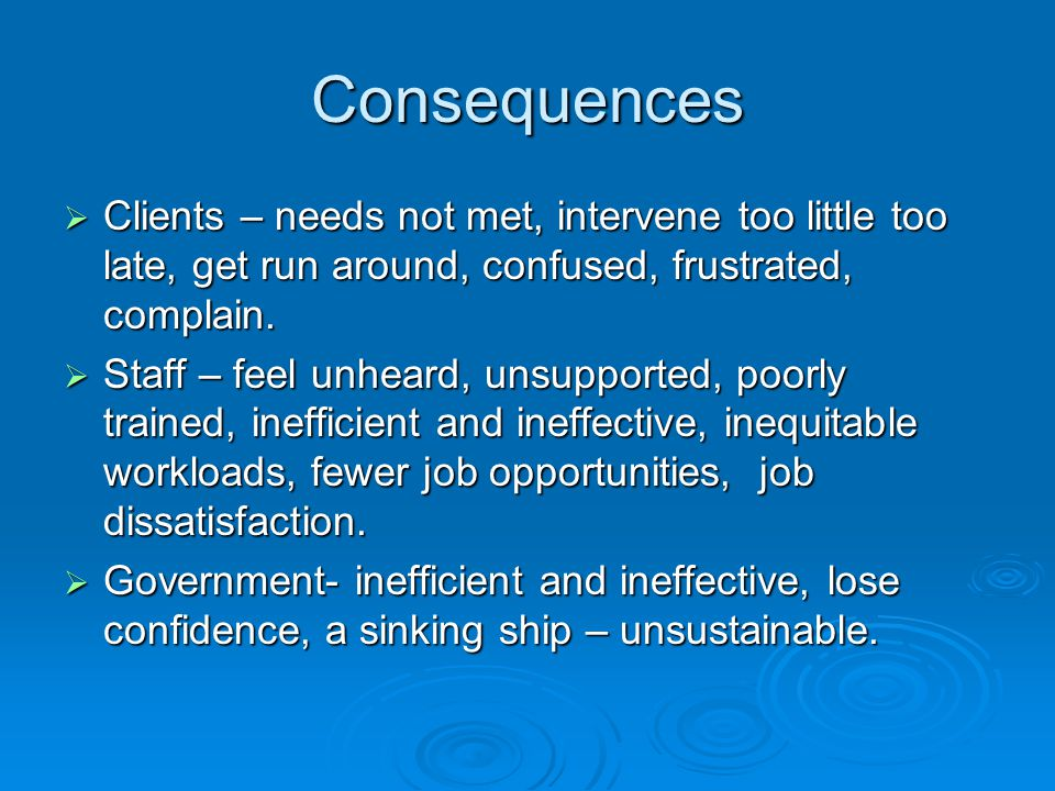 Consequences Clients – needs not met, intervene too little too late, get run around, confused, frustrated, complain.