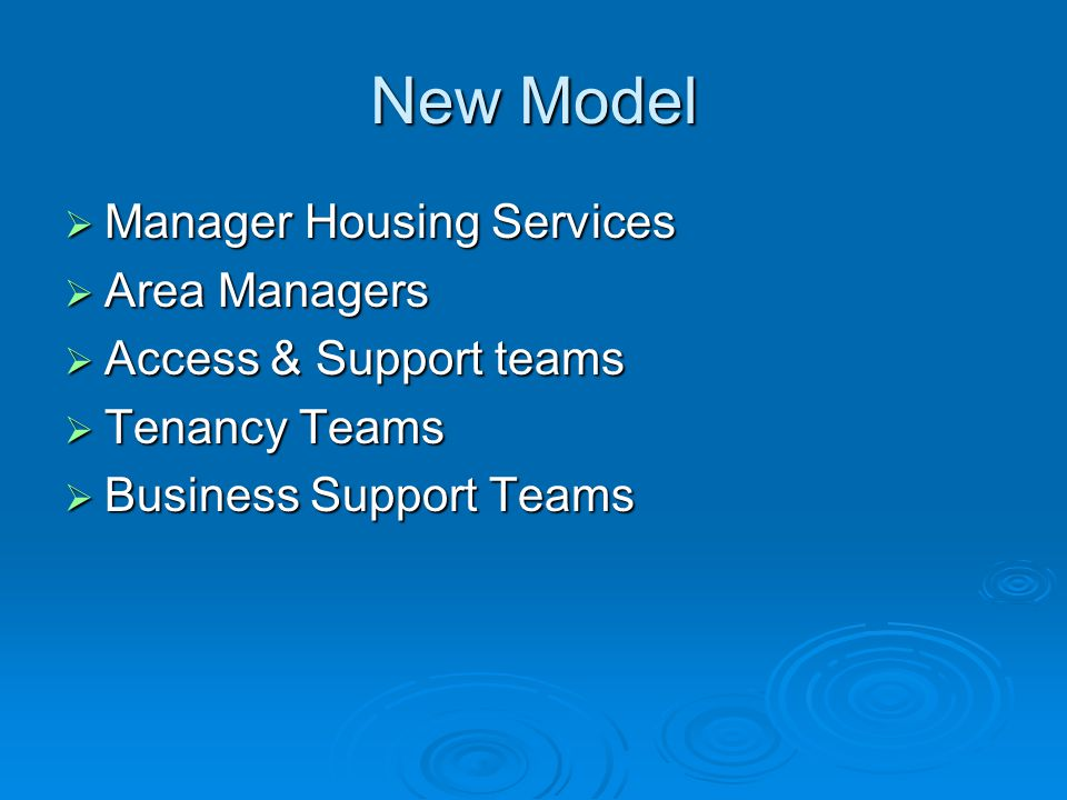New Model Manager Housing Services Area Managers