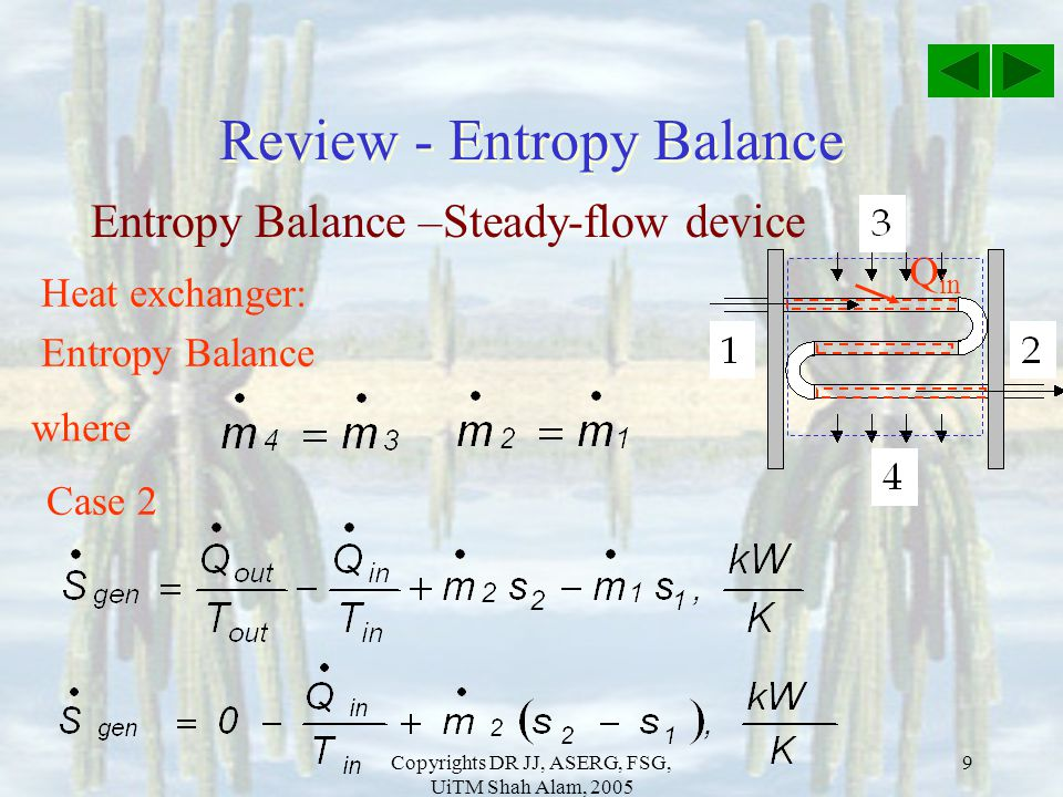 Review - Entropy Balance