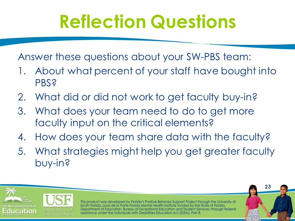 Reflection Questions Answer these questions about your SW-PBS team: