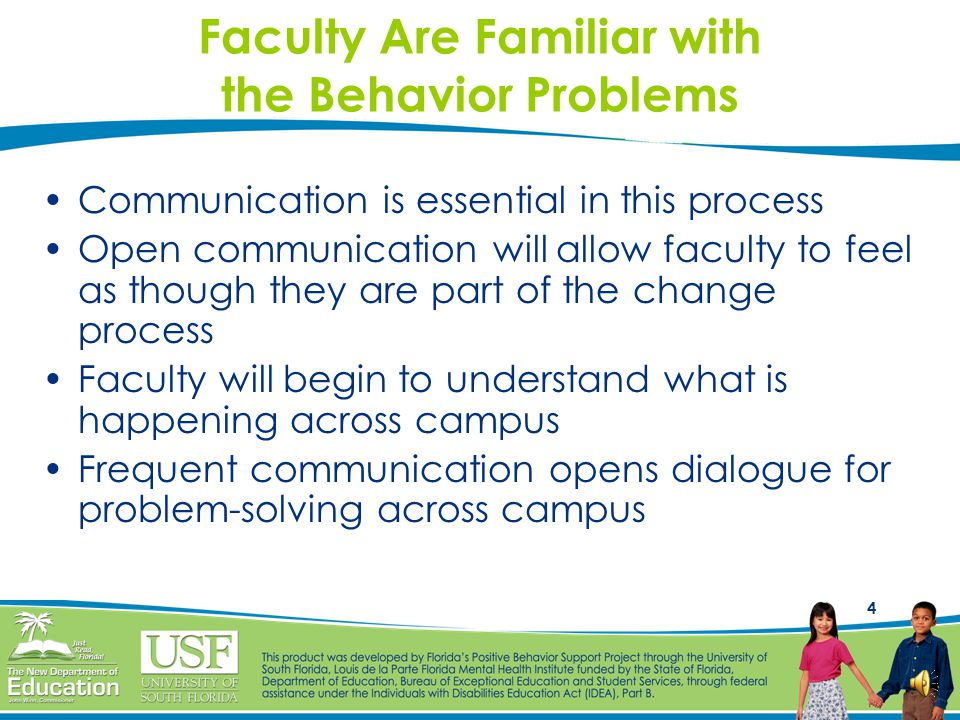 Faculty Are Familiar with the Behavior Problems