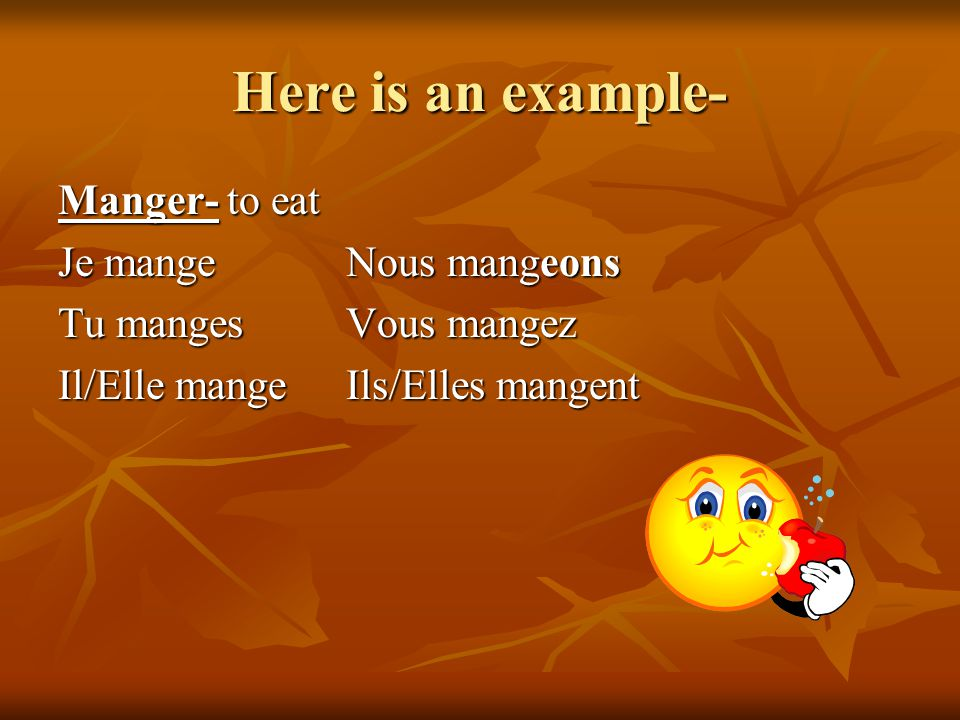 Here is an example- Manger- to eat Je mange Nous mangeons