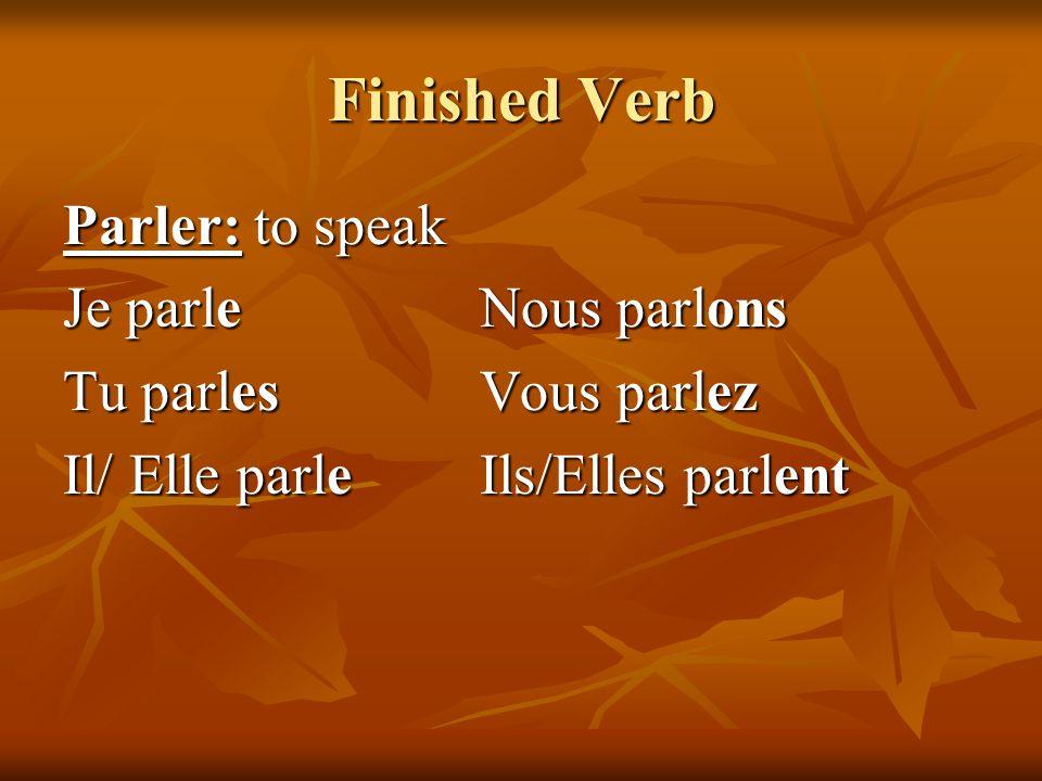 Finished Verb Parler: to speak Je parle Nous parlons