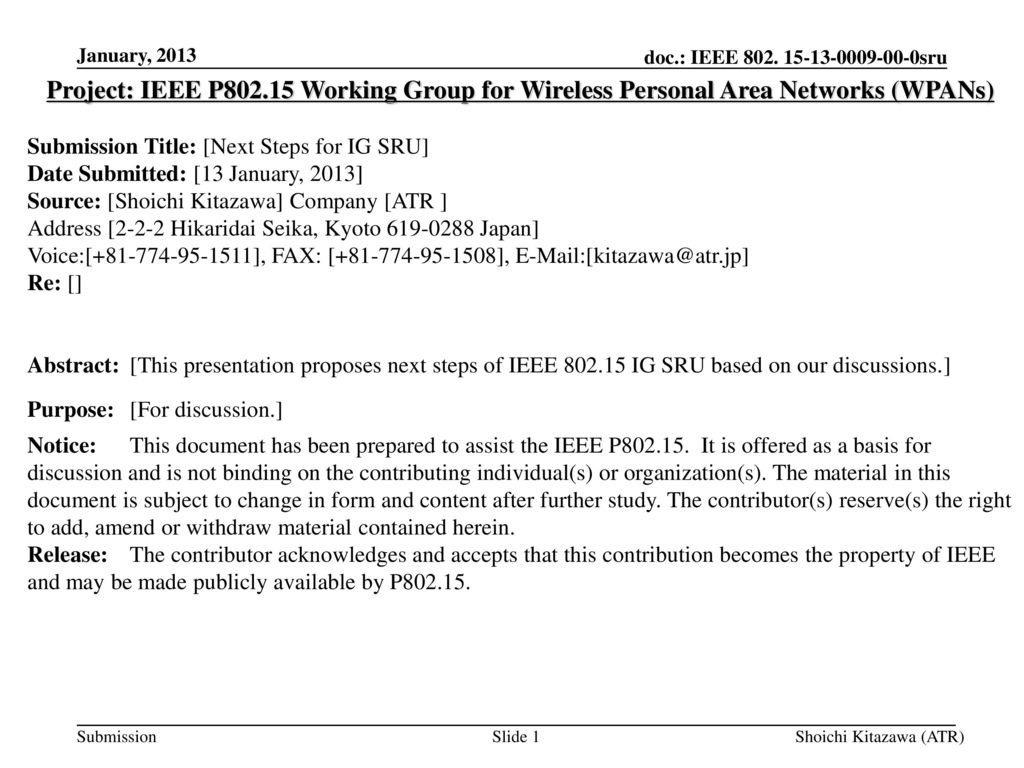 doc.: IEEE sru <month year> January, Project: IEEE P Working Group for Wireless Personal Area Networks (WPANs)