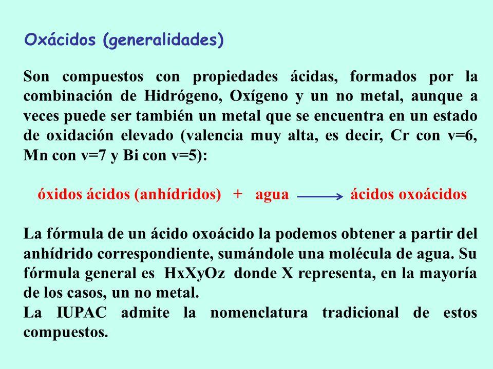 óxidos ácidos (anhídridos) + agua ácidos oxoácidos