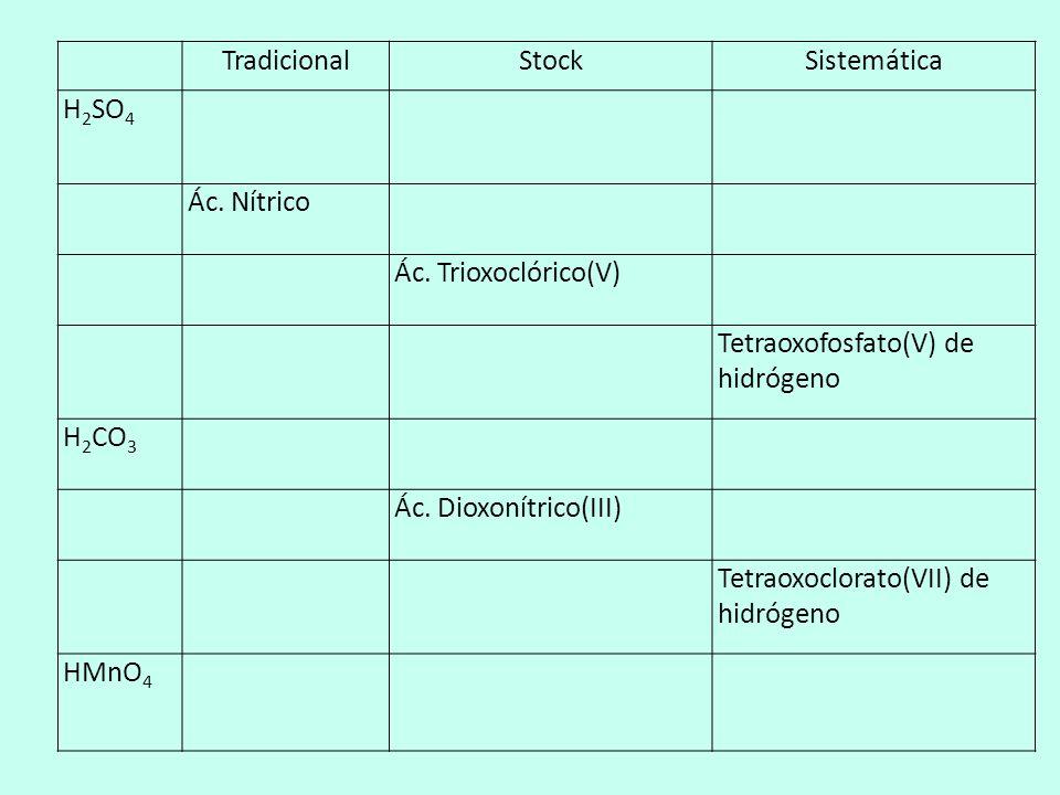 Tradicional. Stock. Sistemática. H2SO4. Ác. Nítrico. Ác. Trioxoclórico(V) Tetraoxofosfato(V) de hidrógeno.