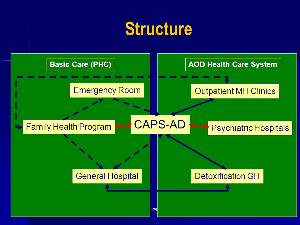 Structure CAPS-AD Emergency Room Outpatient MH Clinics