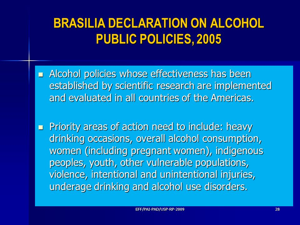 BRASILIA DECLARATION ON ALCOHOL PUBLIC POLICIES, 2005