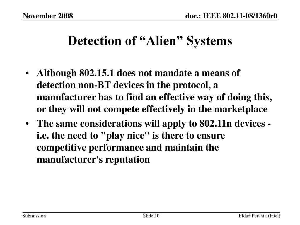 Detection of Alien Systems