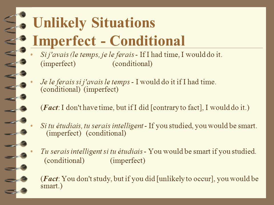 Unlikely Situations Imperfect - Conditional