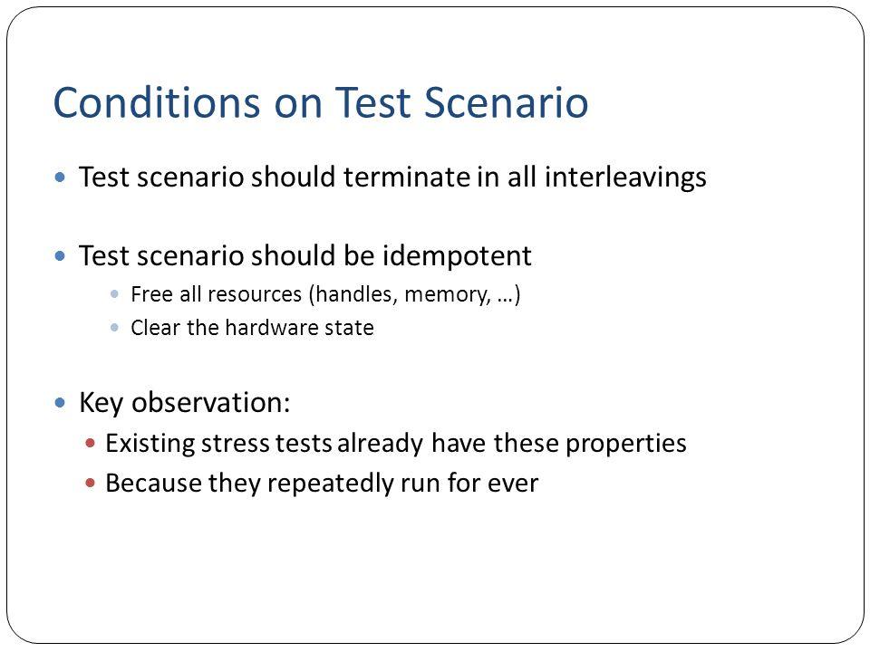 Conditions on Test Scenario