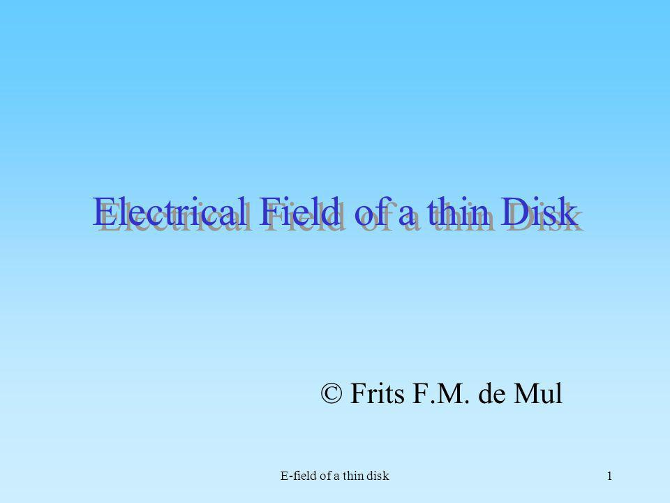 Electrical Field of a thin Disk