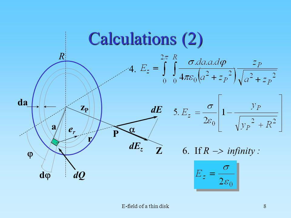 Calculations (2) R Z dQ dE er r P a dj j da dEz zP 4.