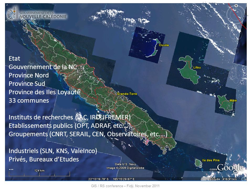 Etat Gouvernement de la NC. Province Nord. Province Sud. Province des Iles Loyauté. 33 communes.
