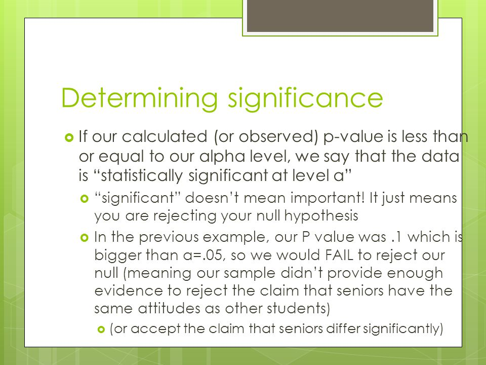 Determining significance