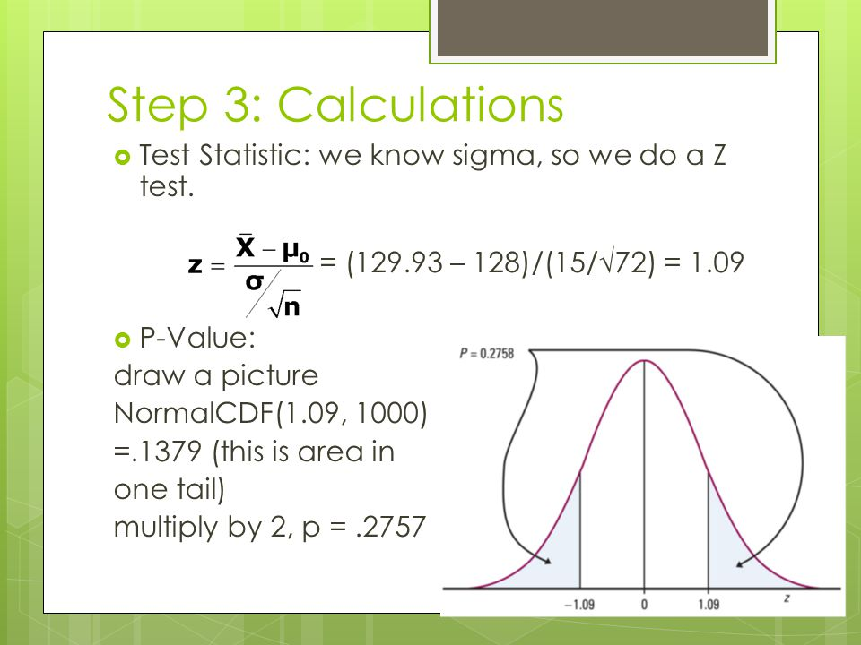 Step 3: Calculations Test Statistic: we know sigma, so we do a Z test.