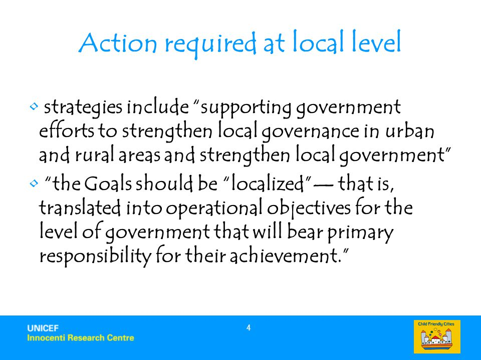 Action required at local level