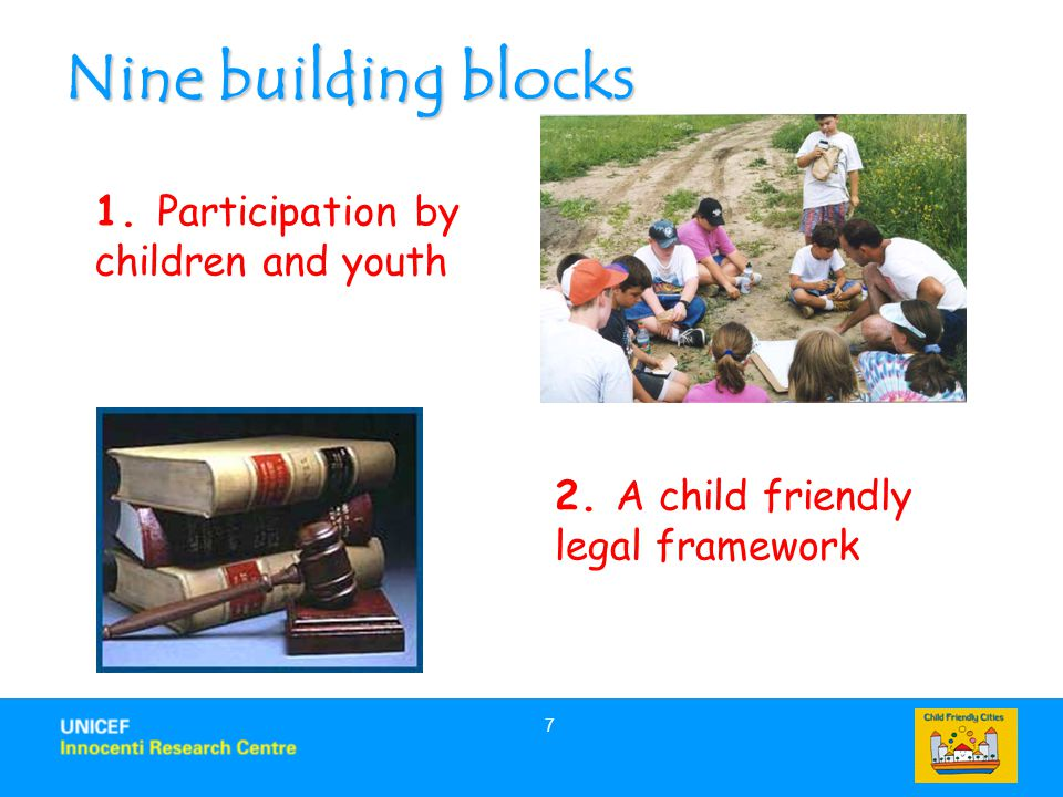 Nine building blocks 1. Participation by children and youth