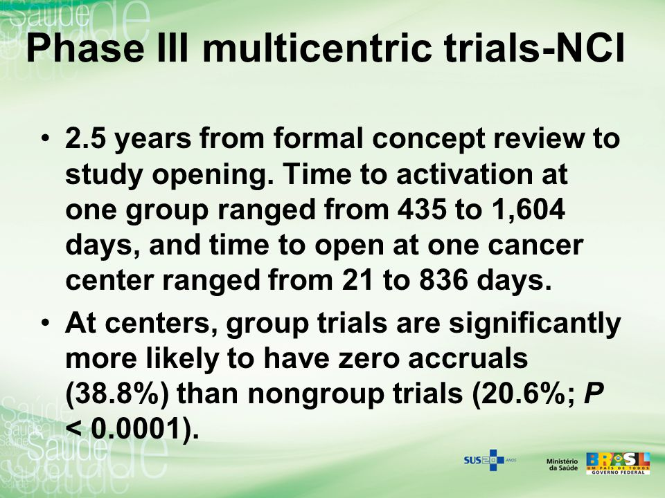 Phase III multicentric trials-NCI